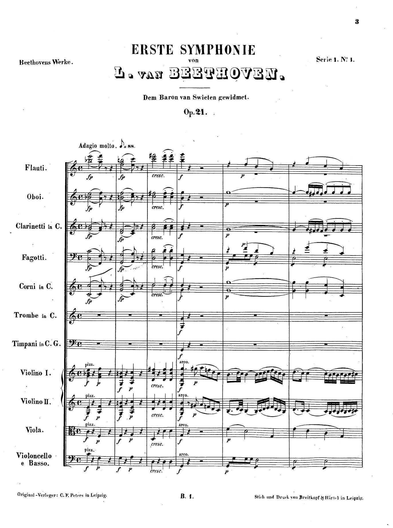 Beethoven symphony no. 1, score, first page